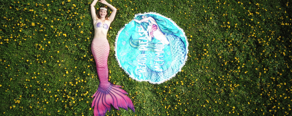 Finfolk pink mermaid tail mermaid towel