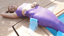 Load image into Gallery viewer, Purple silicone mermaid tail