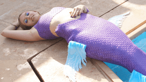 Purple silicone mermaid tail