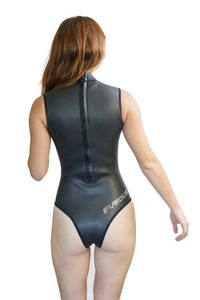 women rashguard no sleeve wetsuit black one-piece