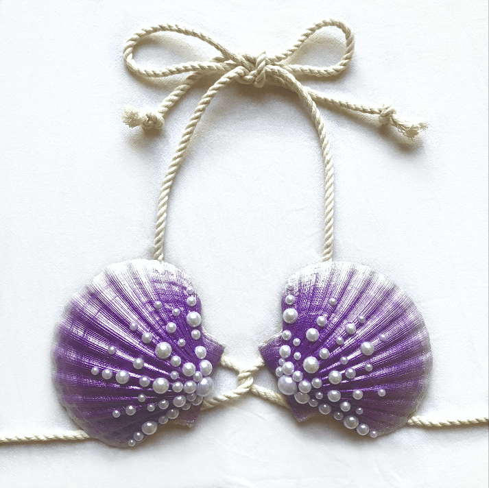 mermaid bra, mermaid top, clamkini, real sea shell top purple Ariel little mermaid bra cosplay