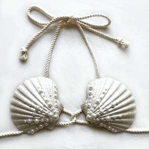 mermaid bra, mermaid top, clamkini, real sea shell top white pearl Ariel little mermaid bra cosplay