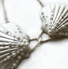 Load image into Gallery viewer, mermaid bra, mermaid top, clamkini, real sea shell top white pearl Ariel little mermaid bra cosplaymermaid bra, mermaid top, clamkini, real sea shell top white pearl Ariel little mermaid bra cosplay