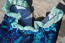 Load image into Gallery viewer, Optional fringe belt shown on the Aqua-Glitter sequin mermaid tail