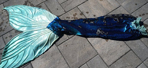 custom blue mermaid tail with sequins