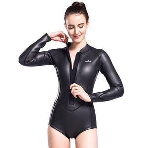 women rashguard long sleeve wetsuit black one-piece front zipper lifurious