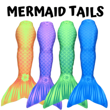 Load image into Gallery viewer, Mermaid tails kids adults aquamermaid yellow blue green purple