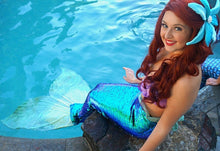 Load image into Gallery viewer, Sequin mermaid tail made with reversible mermaid sequin fabric. Teal blue sequin mermaid tail, Ariel little mermaid cosplay costume