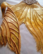 Load image into Gallery viewer, Gold sequin mermaid tail silicone fluke