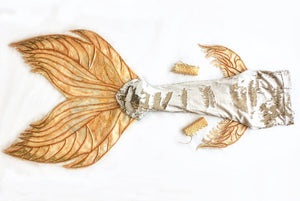 Gold sequin mermaid tail silicone fluke