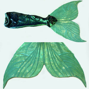 Green sequin mermaid tail silicone fluke little mermaid cosplay costume ariel