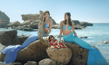 Load image into Gallery viewer, Mermaids wearing AquaMermaid silicone mermaid tails Iogo