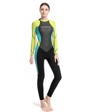 Load image into Gallery viewer, Women wetsuit full length long sleeve yellow blue black lifurious