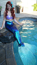 Load image into Gallery viewer, Sequin mermaid tail made with reversible mermaid sequin fabric. Teal blue sequin mermaid tail