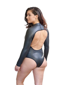 women rashguard long sleeve open back wetsuit black one-piece