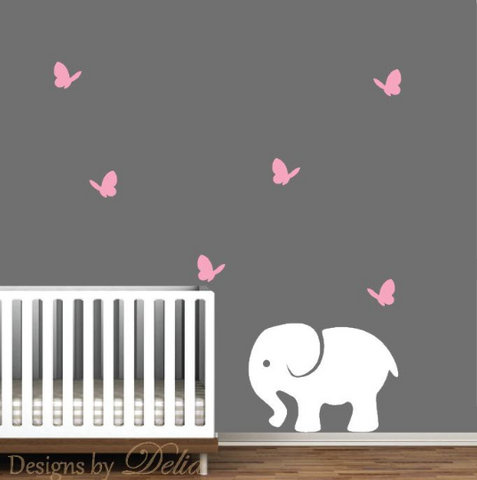 Baby Nursery Wall Decal with Cute Butterflies and Elephant