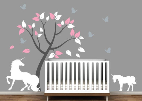 Nursery Tree Decal with Unicorn, Baby Unicorn, and Butterflies