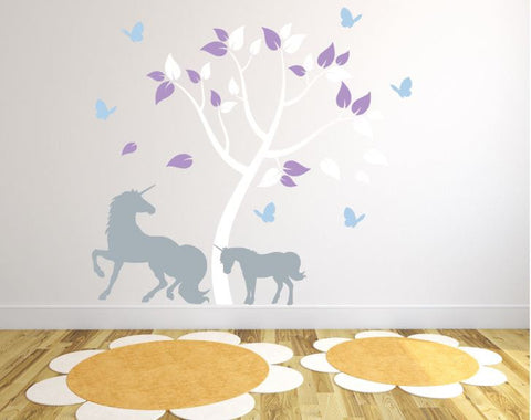 Nursery Decal with Unicorn and Colorful Tree