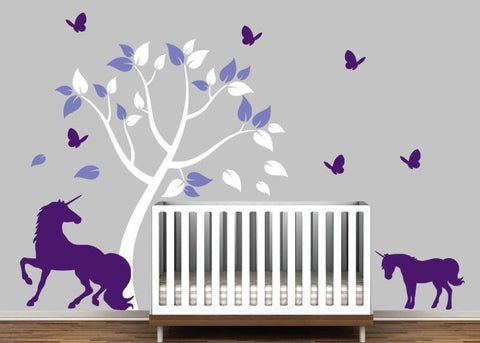 Nursery Decal with Beautiful Tree and Cute Unicorns