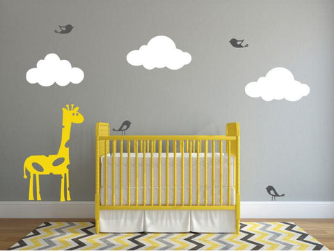 Children's Room Wall Decor, Giraffe, Clouds, and Birds Decal