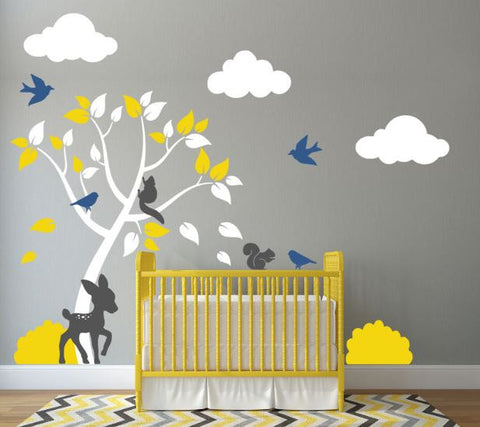 Tree Wall Decal for Nursery With Clouds, Deer, Bushes, Birds, and Squirrels