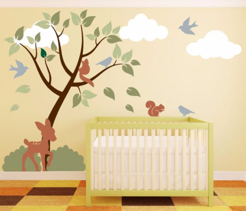 Forest Tree Decal Set For Boy Or Girl Room