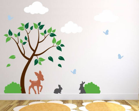 Nursery Decals With Tree, Clouds, Deer, Bushes, Butterflies, and Bunnies