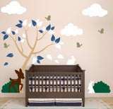 Nursery Tree Wall Decal With Clouds And Cute Forest Animals