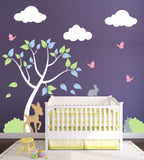 Wall Decal With Tree, Clouds, Bunnies, And Butterflies