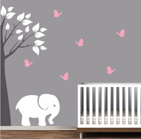 Nursery Corner Tree Decal with Elephant And Butterflies