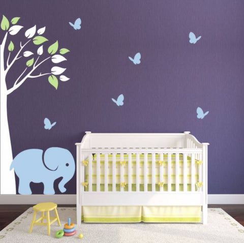 Corner Tree Decal For Nursery With Elephant And Butterflies
