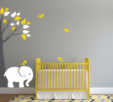 Nursery Corner Tree Decal Set With Elephant and Birds (Choose Colors)