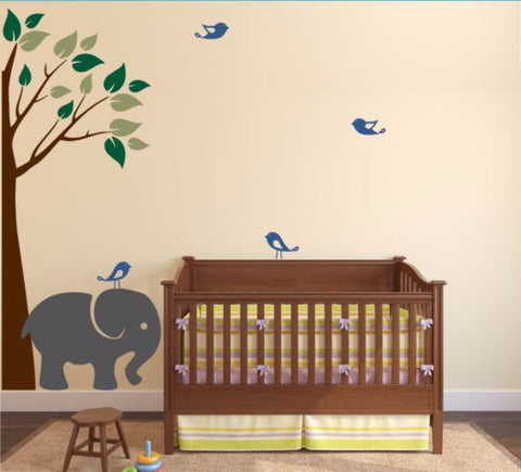 Boy Or Girl Nursery Corner Tree With Elephant And Cute Birds