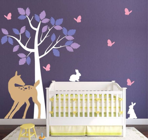 Nursery Tree Wall Sticker with Doe, Bunnies, and Butterflies