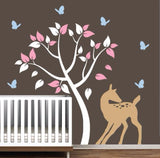 Nursery Wall Decal with Tree, Doe and Butterflies