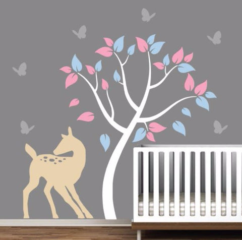 Beautiful Tree Wall Sticker For Nursery Doe and Butterflies