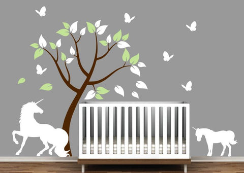 Nursery Wall Decal with Unicorns, Colorful Tree, and Butterflies