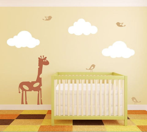 Nursery Wall Decal with Clouds, Birds, and Giraffe