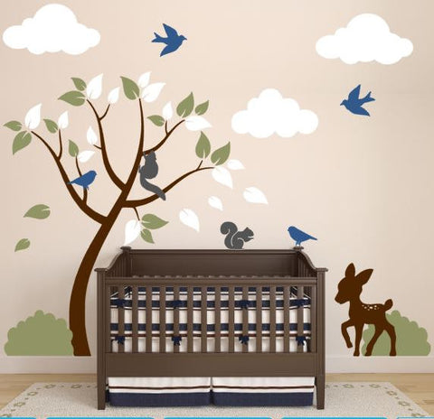 Nursery Decals With Tree, Clouds, Deer, Bushes, Birds, and Squirrels
