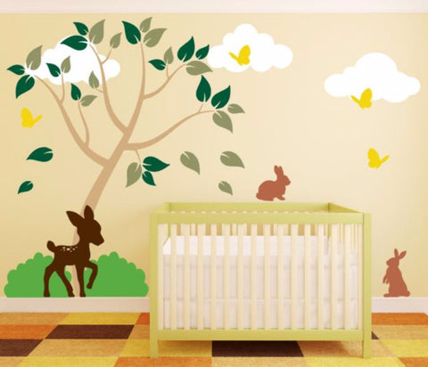 "Nursery Vinyl Wall Decal Set With 65"" Tree and Forest Animals"