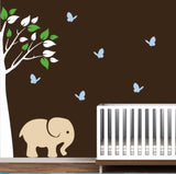 Nursery Vinyl Wall Decals With Corner Tree, Elephant, And Colorful Leaves