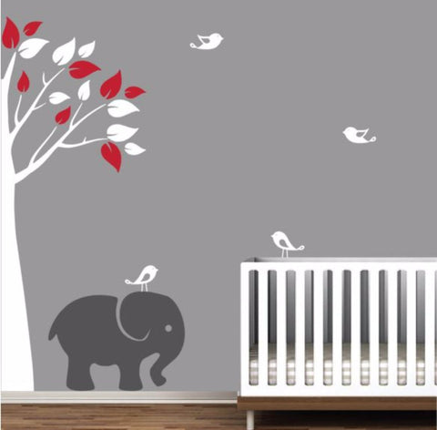 Baby Nursery Jungle Tree With Elephant And Cute Birds