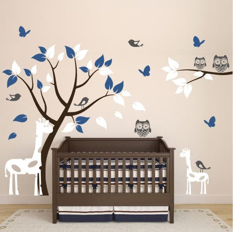 Tree and Giraffes Wall Decal for Nursery