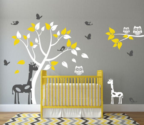 Nursery Wall Decal with Giraffes, Tree, Birds, Butterflies, and Owls