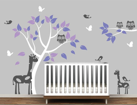 Giraffes, Tree, Owls, Birds, and Butterflies Vinyl Wall Decal for Nursery