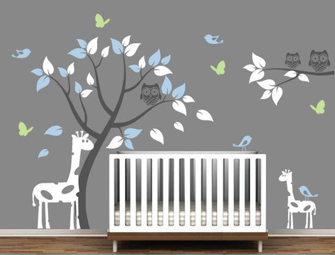 Giraffes Wall Decal for Nursery with Tree, Branch, Owls, Birds, and Butterflies
