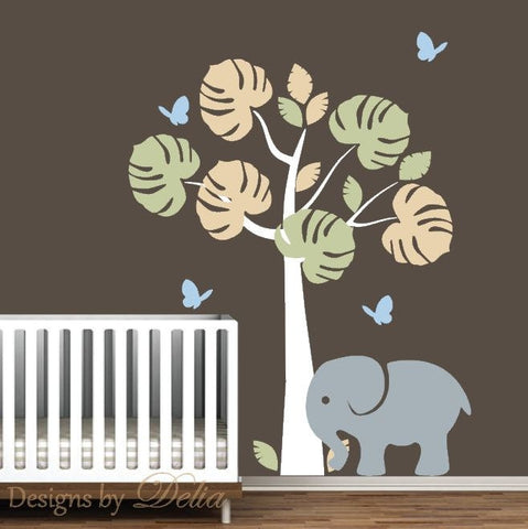 Tree Baby Nursery Wall Vinyl Decal, Butterflies, Elephant Wall Stickers
