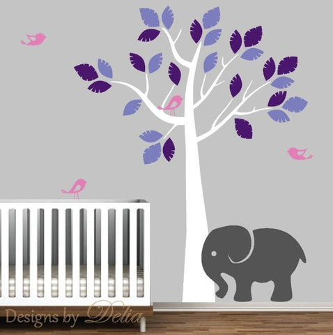 Nursery Jungle Tree with Birds and Elephant, Vinyl Wall Art