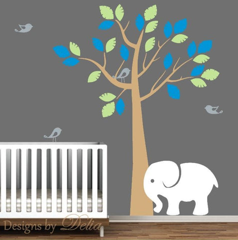 Wall Nursery Tree with Elephant and Birds for Children