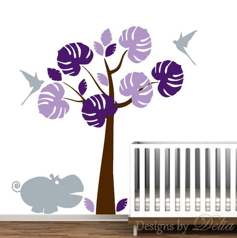 Nursery Wall Decal, Baby Girl Room Vinyl Sticker, Hippo and Birds